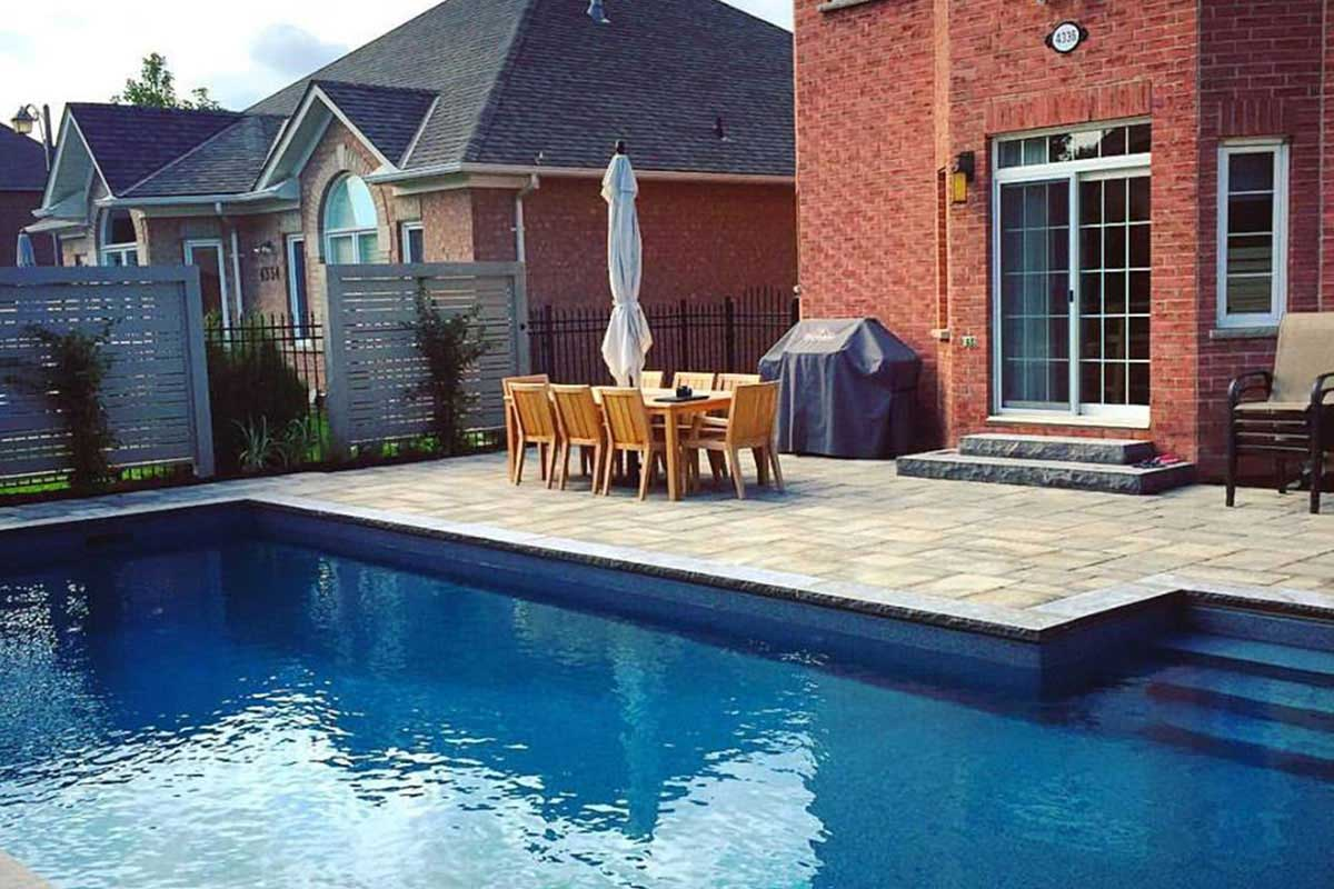 Backyard pool with patio